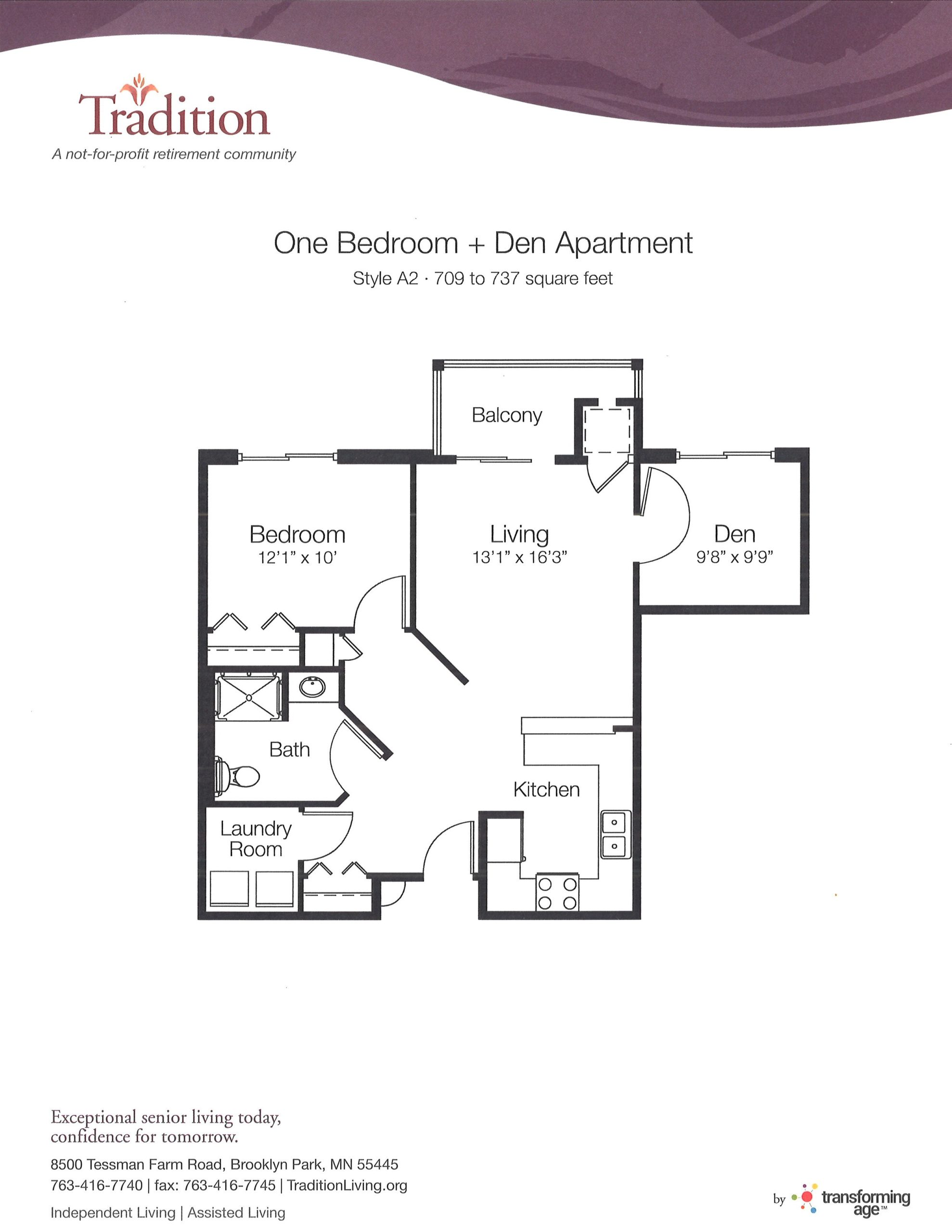 One Bedroom With Den (A2)
