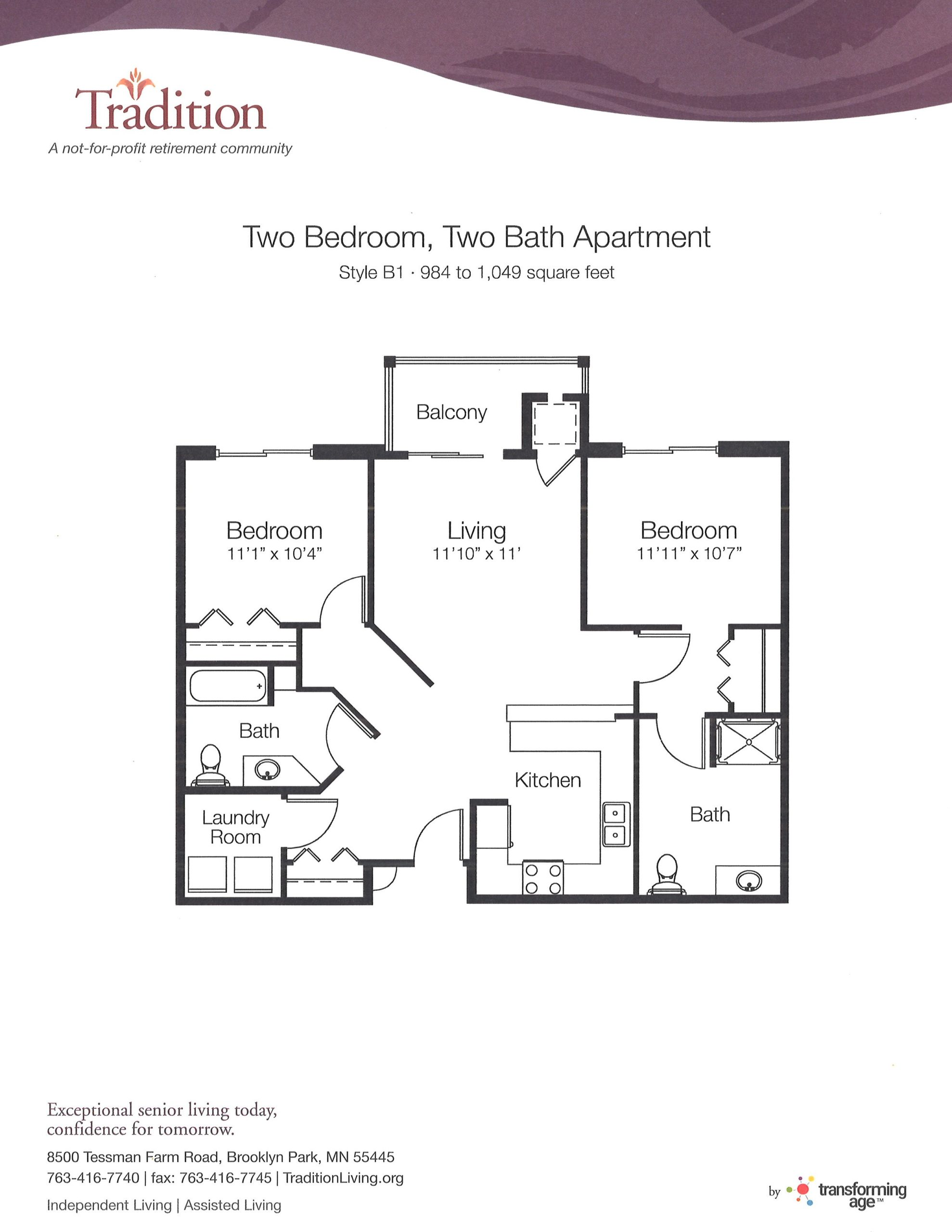 Two Bedroom with Two Bathrooms (B1)
