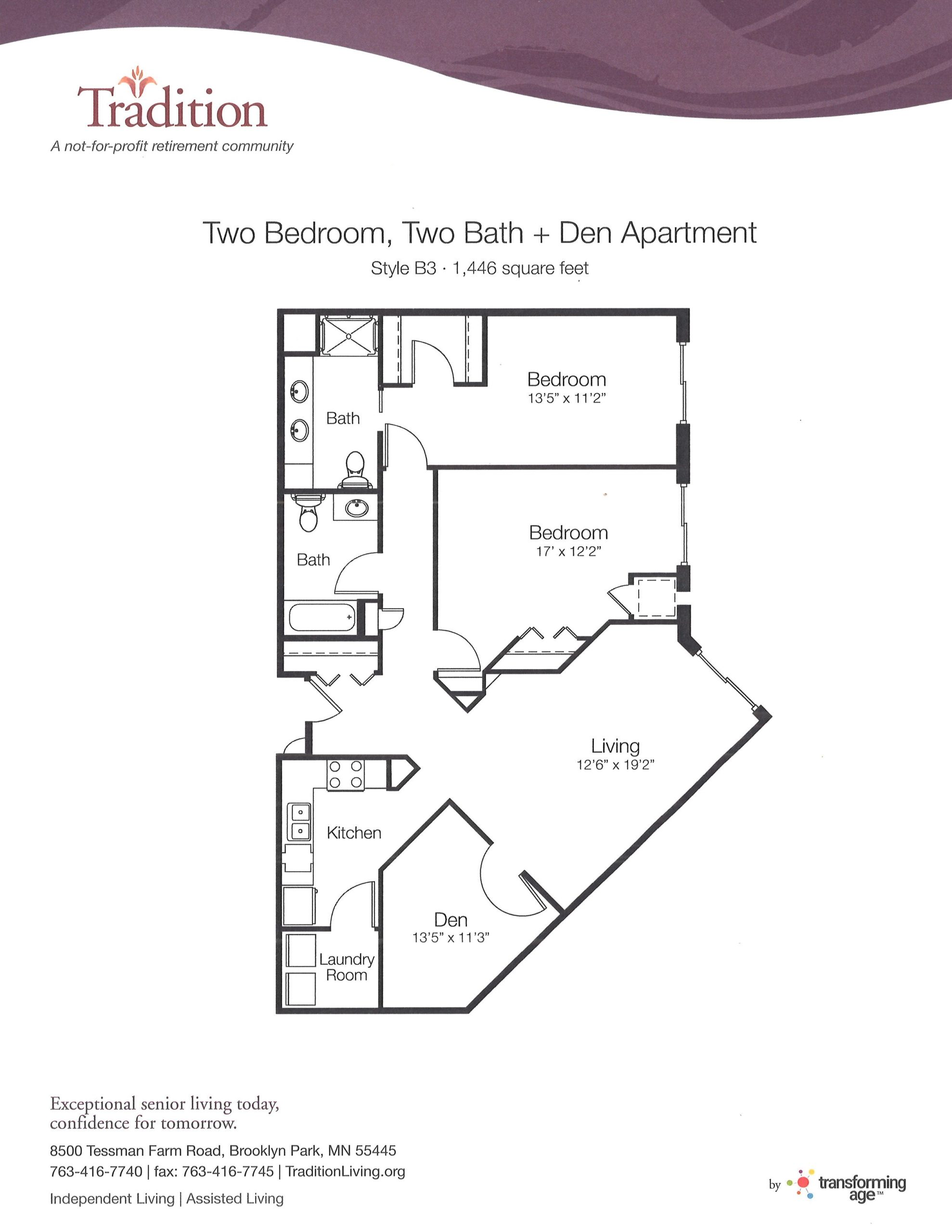 Two Bedroom, Two Bathroom with Den